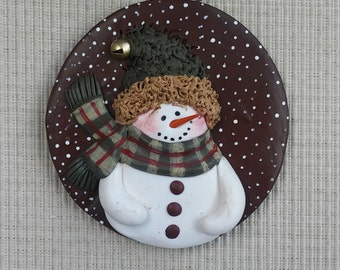hand sculpted polymer clay Scotty plaid snowman ornament