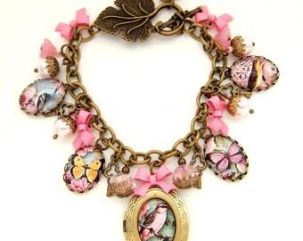 Birds and Butterflies Charm Bracelet Altered Art Bracelet Nature Lover Gift Gift for Her Gift for Bird Lovers Birdwatcher Gift