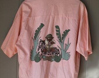 ON SALE Peach Camping Shirt / Boxy 80s Safari Shirt / High Low Hem Cotton shirt / oversized shirt / slouchy shirt