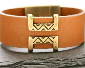Leather Bracelet Southwestern Bracelet Leather Bangle Mens Bracelet Statement Bracelet Brass Cuff Fathers Day Gift For Dad Man Him Under 50