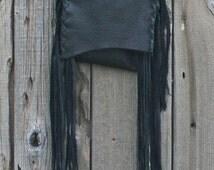 ON SALE Small black shoulder bag with fringe . Cross body phone bag