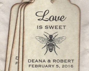 50 Bee Wedding Favor Love Is Sweet Gift Tags, Place Card Escort Tags, Thank You Shower Favor Tags, Honey Jar Labels Tags - Vintage Style