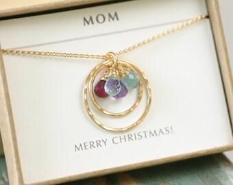 Gold birthstone necklace, gold mother's necklace, gift for grandmother, birthstone necklace mother, family necklace - Celeste