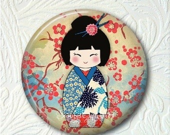 """Kokeshi Doll Pocket Mirror, 2.25"""" Size, Choose from the 4 Different Prints, Black Velour Pouch,  Buy 3 Mirrors Get 1 Mirror Free  556"""