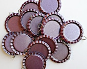 DESTASH - Purple Flat Bottle Caps with Jump Rings Attached - 25 Count
