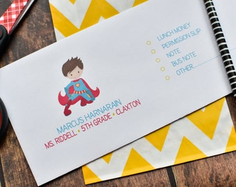 Personalized School Money Envelope for Money and Notes - Boys Super Hero Design - Personalized School Envelopes - Boys Superhero Design