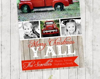 Merry Christmas Y'all - Rustic Barnwood Photo Christmas Card - Four Photo Spots - Digital File Available