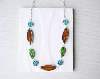 Multicolor Necklace, Colorful Glass Jewelry, Blue, Green, Nickel Free Sterling Silver Option, Modern, Contemporary, Brown, Fall, Autumn