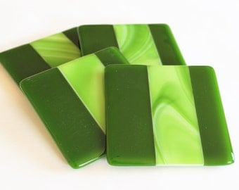 GLASS DRINK COASTERS - Lime Fused Glass Coasters, Bridal Shower Gift, Under 25, Green Kitchen, Greenery, Summer Bar Coasters, Wedding Gift