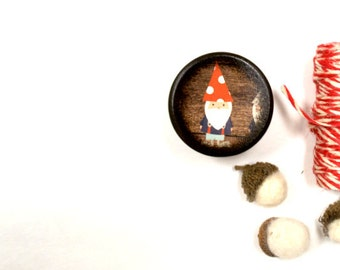 Gnome Powder Box,  Wooden Box, trinket box, Garden Gnome, Desk Organizer,  Handmade, Powder Box, Jewelry Box, Woodland, Forest, Polka dot