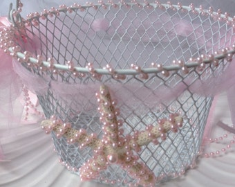 Sweet  Flower Girl Wire Basket with Star Fish - Pink Pearls/Ribbons