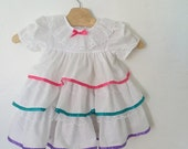 ON SALE Vintage 70s / Baby Girl / Toddler / White / Pink / Purple / Teal / Ribbon / Lace / Layered / Puffed Short Sleeve / Dress / 24 months