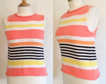 Vintage 80s / Jeanne Pierre / Peach / Yellow / Orange / Striped / Sleeveless / Petite / Sweater / Small