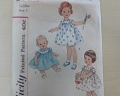 1950's Toddlers' Dress with Puff Sleeves and Round Yoke, Baby Girl Dress -Vintage 50s Simplicity Sewing Pattern 2947- Size 1 Chest 20 Inches