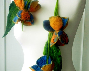 felted Flower, Hand Felted, Wool Jewelry felted  scarf/ necklace/BELT