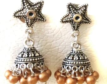 TRIBAL SILVER Jhumka Earrings,Copper Silver Jhumkas,Kucchi Earrings,Silver dome Indian Jewellery Taneesi Jewelry