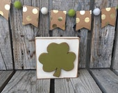 Shamrock green wood sign handmade lucky spring seasonal home decor blocks