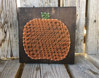 PUMPKIN string art wood block sign thanksgiving fall autumn handmade seasonal home decor gift nail art hostess