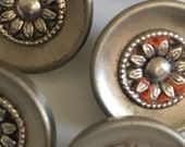 Antique Sunflower Button Vintage Silver Flower Button