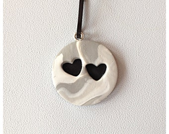 Polymer Clay Cut Out Black Heart Zipper Pull or Charm