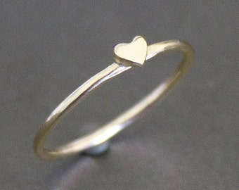 Heart Ring Solid 10K Gold Band with Small Heart - PROMISE RING