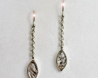 Natures Sketches - Tourmalinated Quartz Sterling Silver Earrings