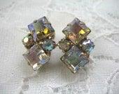 Vintage Rhinestone Earrings ~ Clip On ~ AB Rhinestones ~ Weiss