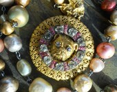 Guardian   Vintage Assemblage Necklace Bull Dog Locket Haskell Pearls