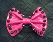 Spiked PVC Hair Bow Hot Pink