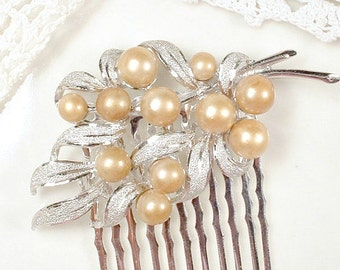OOAK Champagne Pearl Bridal Hair Comb, Vintage Small Brushed Silver Leaf Floral Spray Wedding Hair Accessory Rustic Country Hairpiece