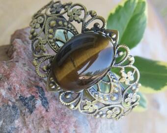 Tiger's Eye Bracelet, Crystal Bangle, Healing Gemstone Bracelet, Antique Bronze Cuff Bracelet, Medieval Renaissance Bracelet, Wiccan Jewelry