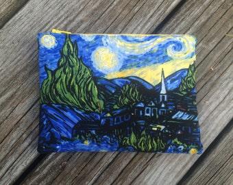Zipper Pouch, Make-Up Bag, Cosmetic Case, Pencil Case, Van Gogh, Modern Art, Starry Night Zipper Pouch, Art Teacher Gift FREE U.S. SHIPPING