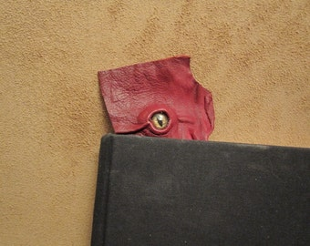 Grichels leather bookmark - dark red with red and gold slit pupil shark eye