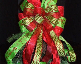 Red And Lime Bow Topper, Christmas Tree Topper Bow, Christmas Bow, Wreaths  Bows
