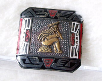Peruvian Enamel Sterling Silver Brooch Tribal Flute Player Gold Silver Signed PML Vintage