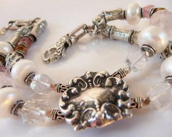 Wedding bridal pearl artisan sterling bracelet | vintage T Foree slide | pink rose crystal | freshwater pearls | 8-8.5 inches (L)