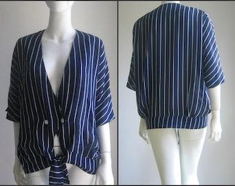 70s 80s vintage striped blouse