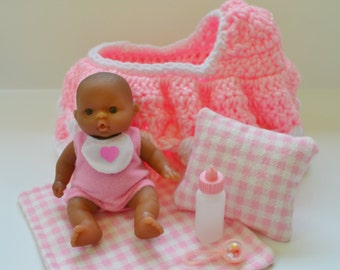 Cradle Purse with 5 Inch Berenguer Doll,  Blanket, Pillow, Bottle and Rattle