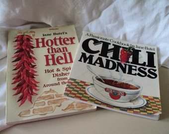 2 Spicy Cookbooks. Chili Madness & Hotter than Hell Cookbook : Hot and Spicy Dishes From Around the World. Jane Butel.