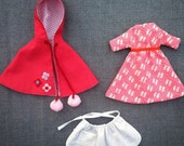 Pink set C: Tiny Handmade Dolls clothing set with reversible dress, embroidered lined cape and swiss dot apron with pocket