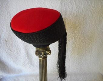 Vintage 1940's Middle Eastern Style HatPillbox-Red Wool & Black-Long Fringe