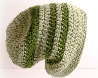 Adult Slouch Hat, Mint Green, Khaki Stripes, Rasta Style Hat, Comfy