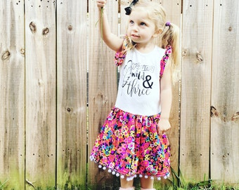 Young Wild and Three Dress Vintage Handmade Flower 3T girl birthday