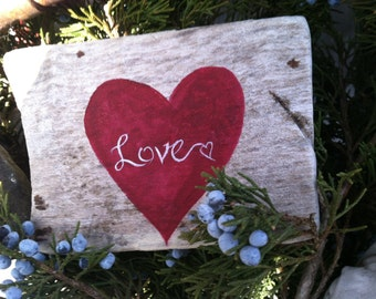 Reclaimed Rustic Wood, Hand Painted Freestanding Heart Love Sign,Home Decor, Home And Living, Valentines Day Decoration
