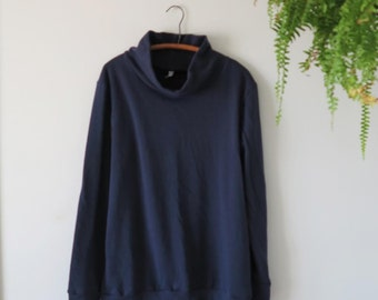 long sweatshirt - navy blue - cowl neck sweatshirt - womens medium