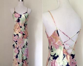 Vintage 1990s silky satin floral slip dress / nineties full-length cross-over-back bias cut slip dress - small