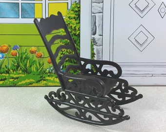 "MINIATURE ROCKER, 3/4"" Scale, Thin, Hard Plastic, Made in Hong Kong, 1970's, Vintage Dollhouse Furniture"