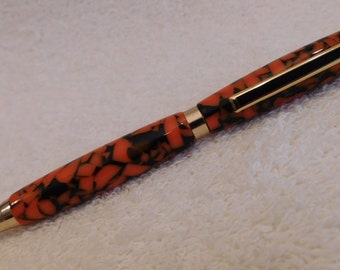 Handmade Black & Orange Crushed Acrylic Slimline Pen in Gold Hardware, Handcrafted, Thin Pen, easy to use, ladies, pen, unique ink pen, 306