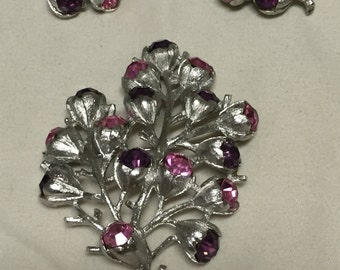 Purple and Pink Rhinestone in Silver Bouquet Vintage SARAH COVENTRY Brooch and Clip Earring Set
