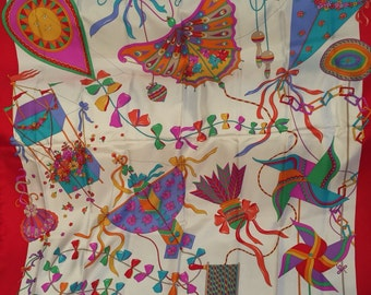 Fun Vibrant Flying Kites Trimmed in Red Silk Vintage GUCCI Scarf